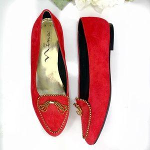 💕Nina red suede gold tassel trim loafers